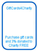 GiftCards4Charity - purchase gift cards and 3% donated to charity free